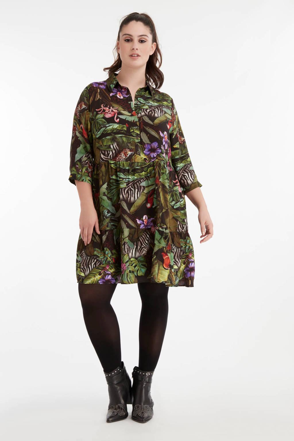 MS Mode blousejurk met all over print groen, Groen
