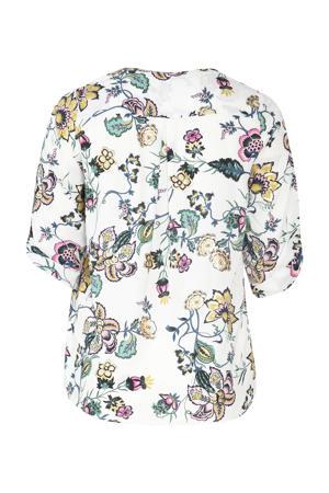 gebloemde blouse wit
