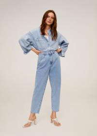 Mango high waist straight fit jeans licht blauw