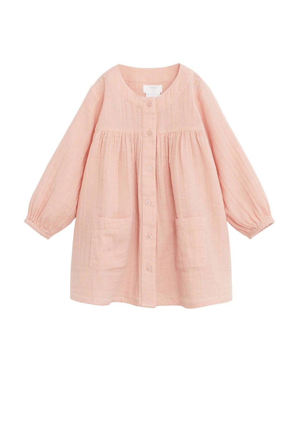 Mango Kids blousejurk met textuur roze, Roze