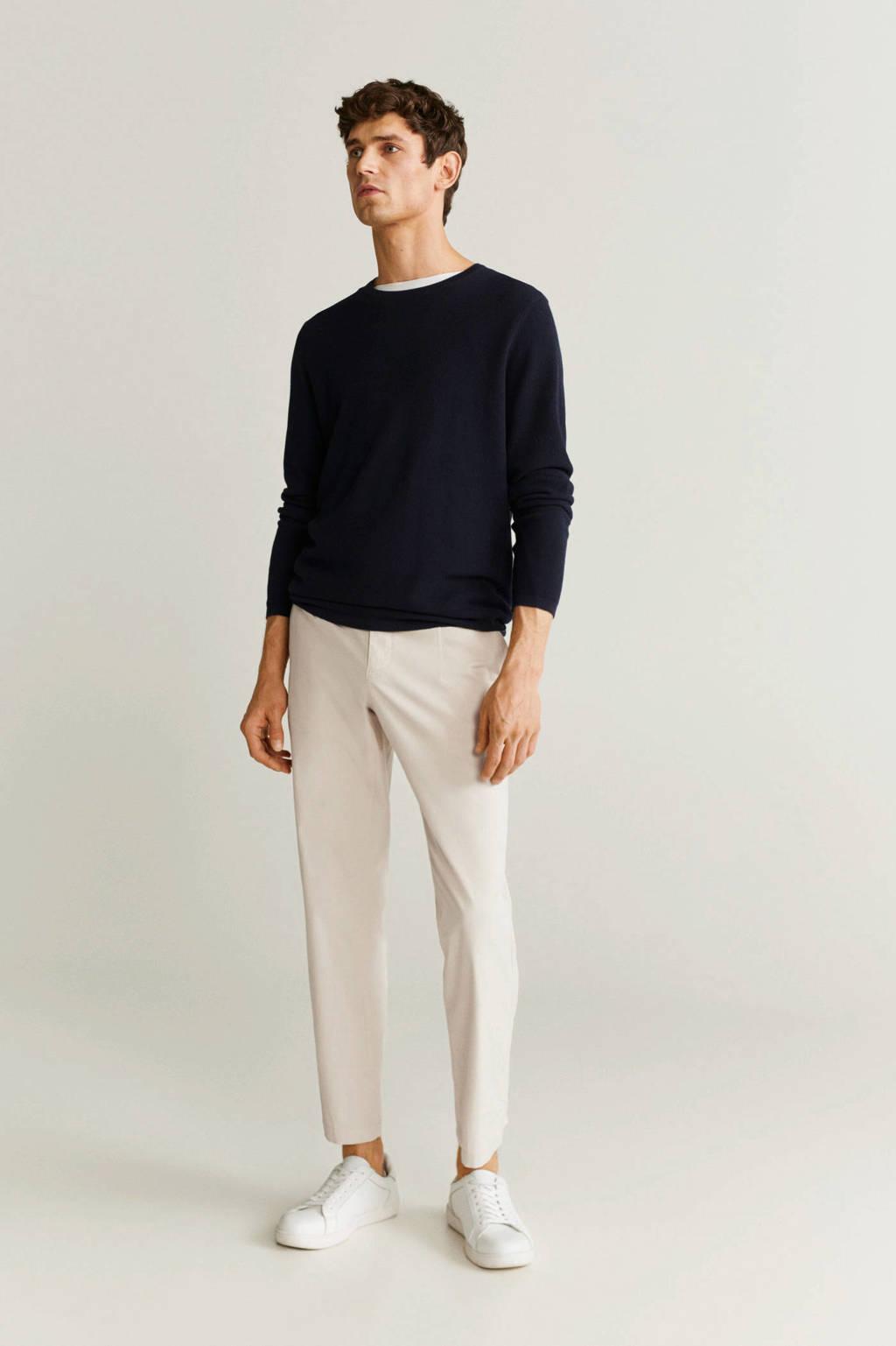 Mango Man slim fit pantalon naturel wit