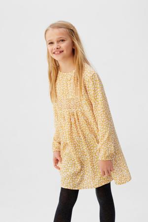 gebloemde A-lijn jurk geel/wit