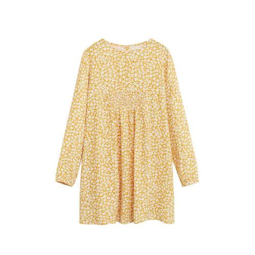 Mango Kids gebloemde A-lijn jurk geel/wit