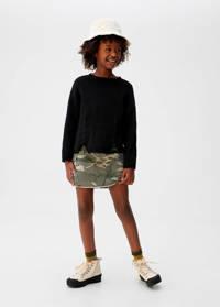 Mango Kids denim rok met camouflageprint army groen, Army groen