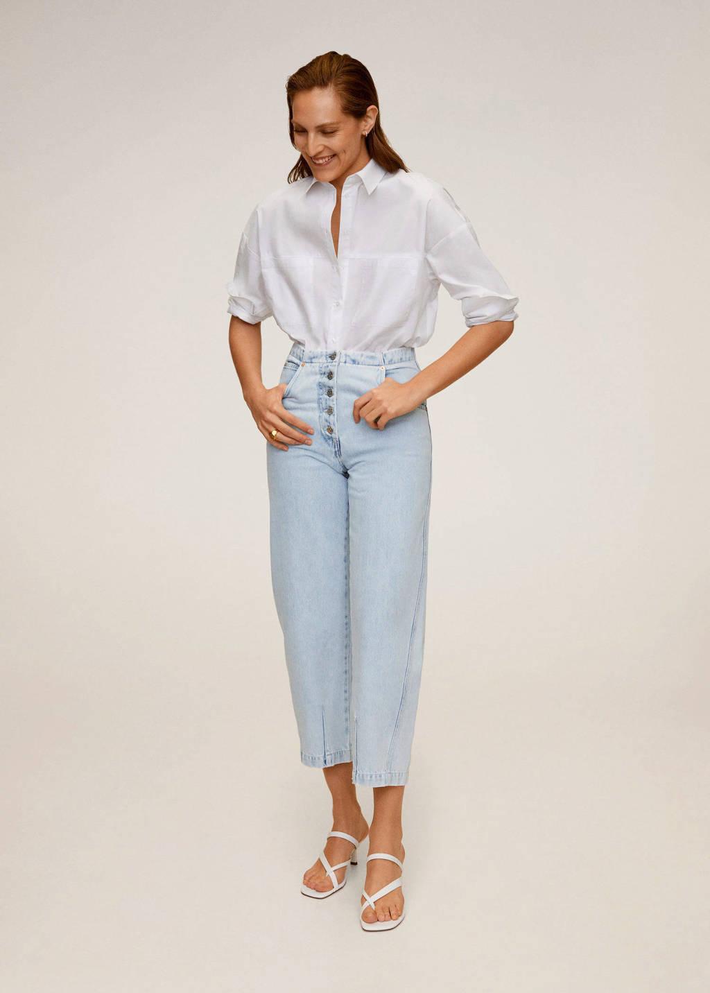 Mango cropped high waist straight fit jeans lichtblauw, Lichtblauw
