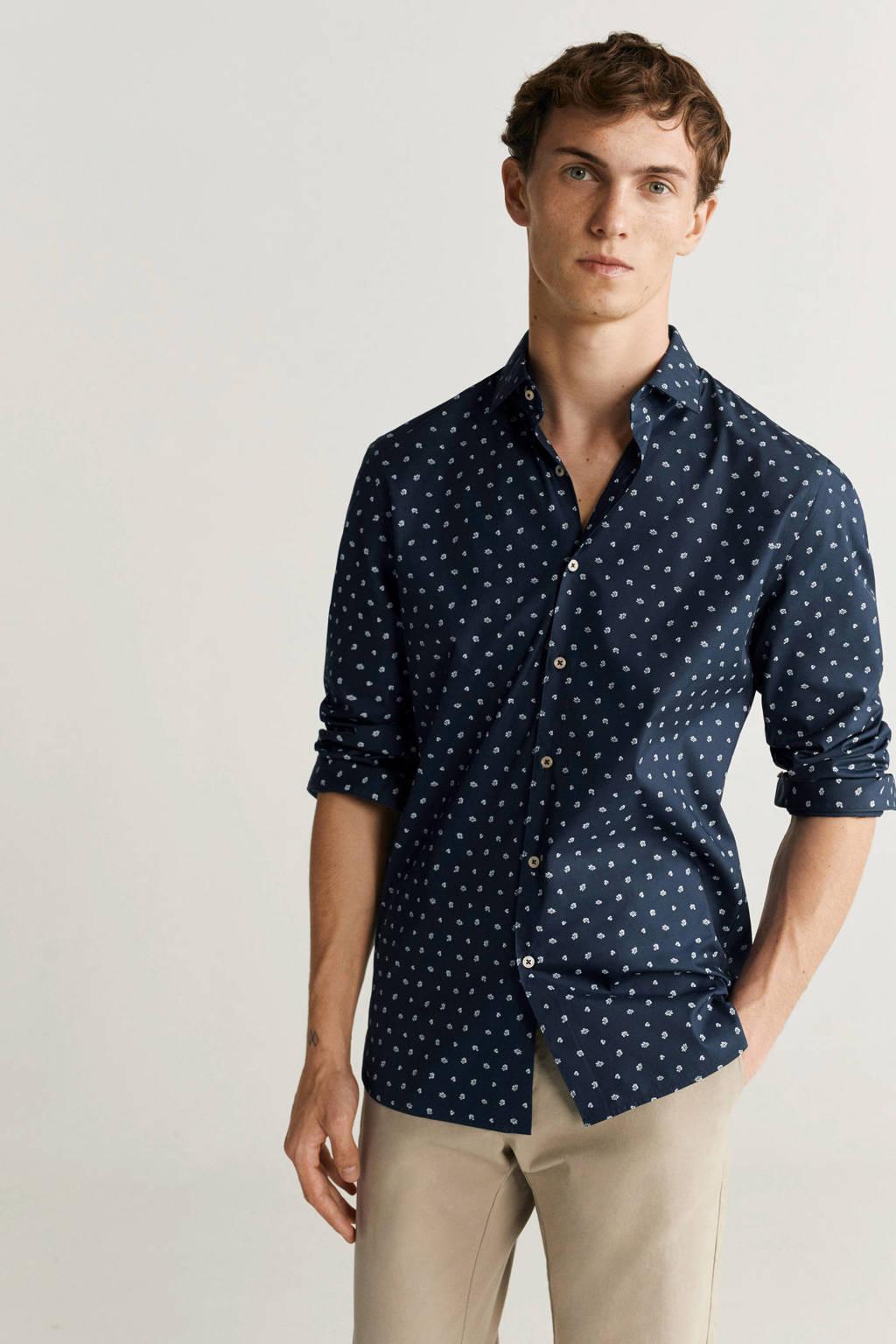 Mango Man slim fit overhemd met all over print marineblauw, Marineblauw
