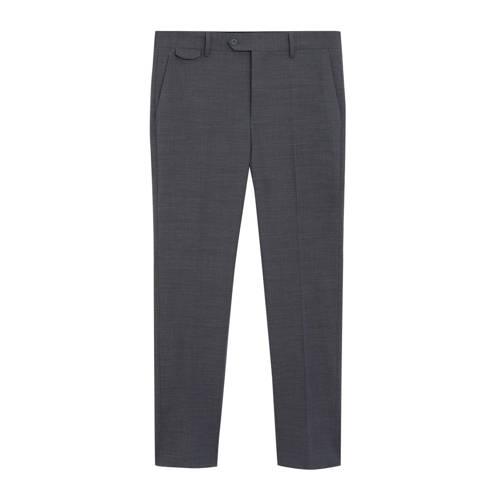 Mango Man slim fit pantalon met wol grijs
