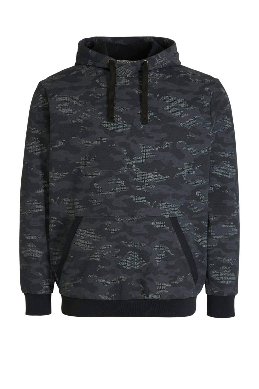 C&A XL Angelo Litrico hoodie met all over print zwart, Zwart
