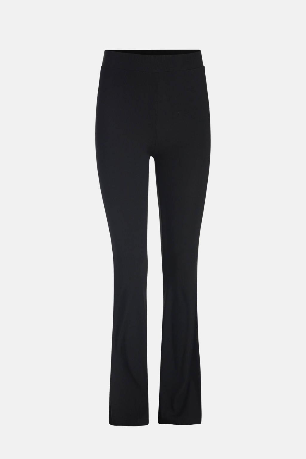 Shoeby Jill & Mitch high waist flared broek Ribby zwart, Zwart