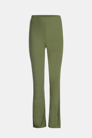 high waist flared broek Ribby groen