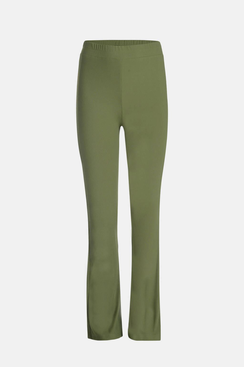 JILL MITCH high waist flared broek Ribby groen, Groen