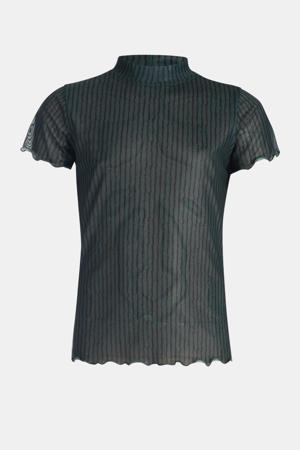 semi-transparante top Lioni met all over print donkergroen/zwart