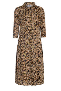 jurk Rachel met panterprint bruin, Bruin