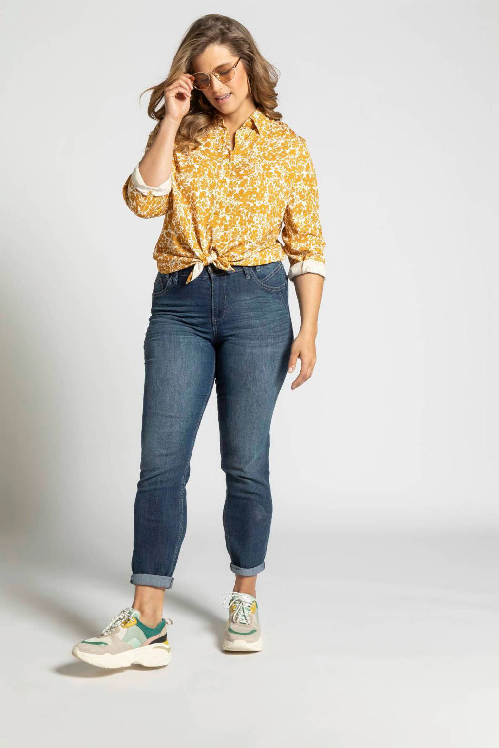 Ulla Popken blouse met all over print oranje/ecru, Oranje/ecru