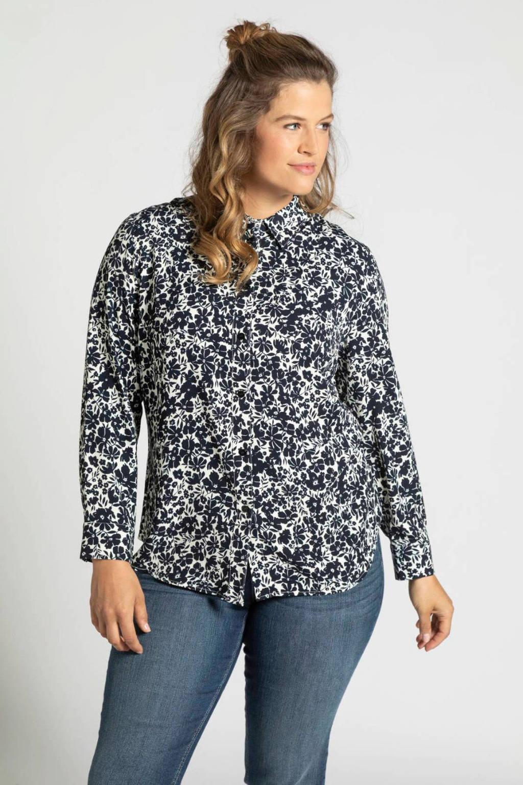 Ulla Popken gebloemde blouse wit/donkerblauw, Wit/donkerblauw