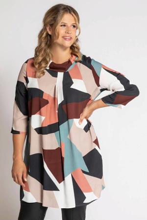 blousejurk met all over print en plooien multi