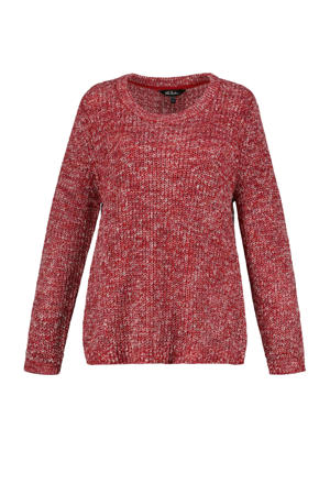 gemêleerde grofgebreide trui rood/wit