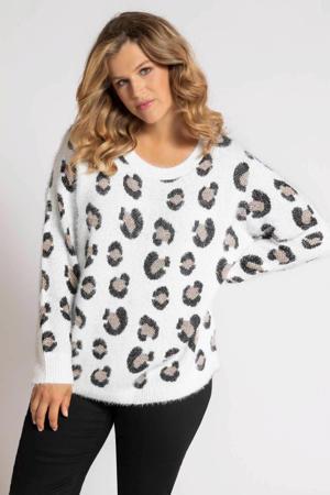 trui met panterprint wit/zwart/beige