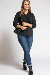 Ulla Popken blouse met plooien zwart, Zwart