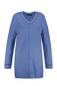 Ulla Popken ribgebreide trui blauw, Blauw