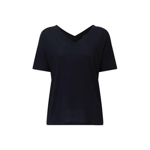 ESPRIT Women Casual T-shirt met linnen zwart