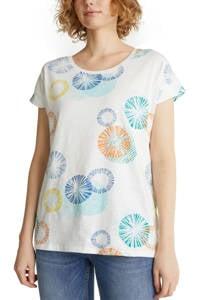 ESPRIT Women Casual T-shirt met all over print wit, Wit