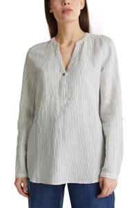 ESPRIT Women Casual gestreepte top met linnen wit/blauw, Wit/blauw