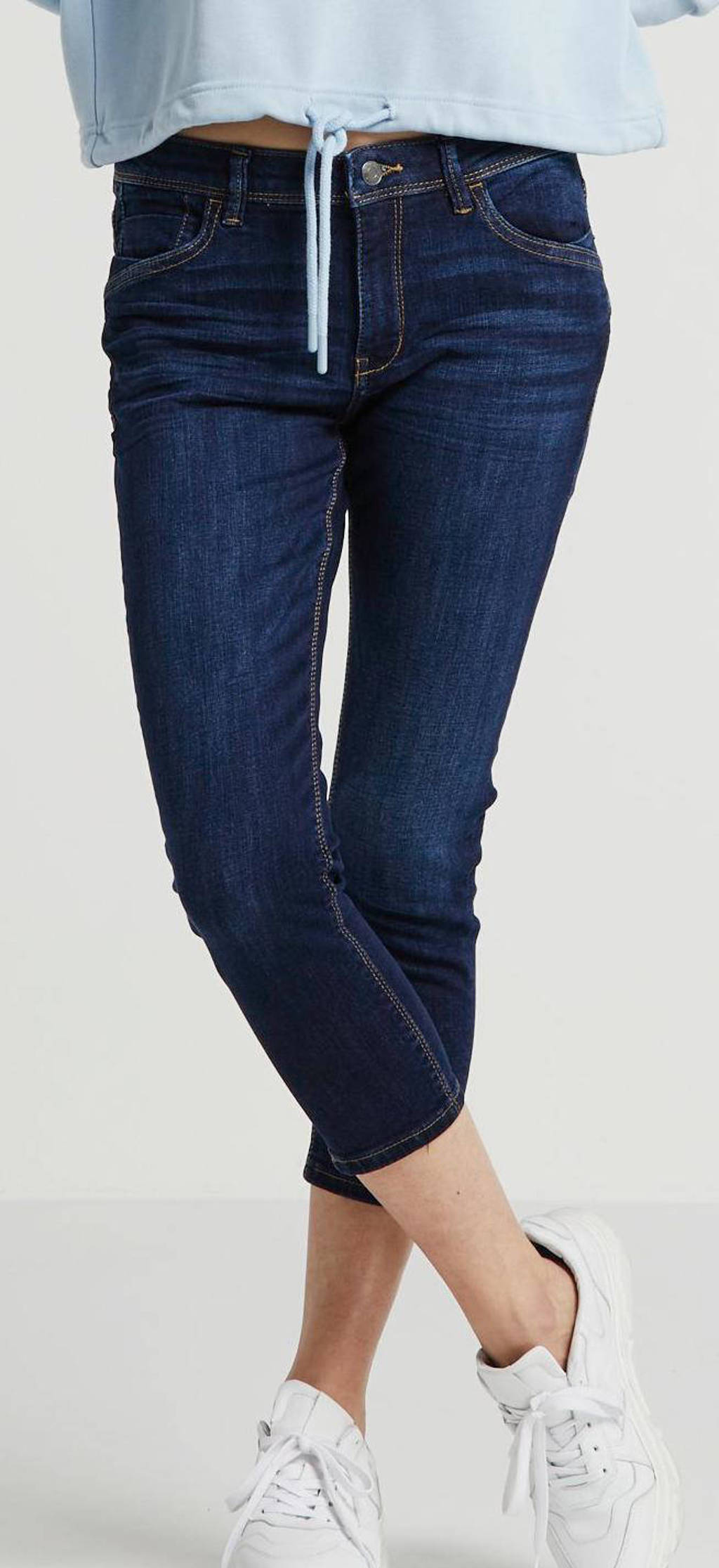 ESPRIT Women Casual cropped skinny jeans blauw met splitje, Blauw