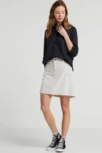 ESPRIT Women Casual blouse met linnen zwart, Zwart
