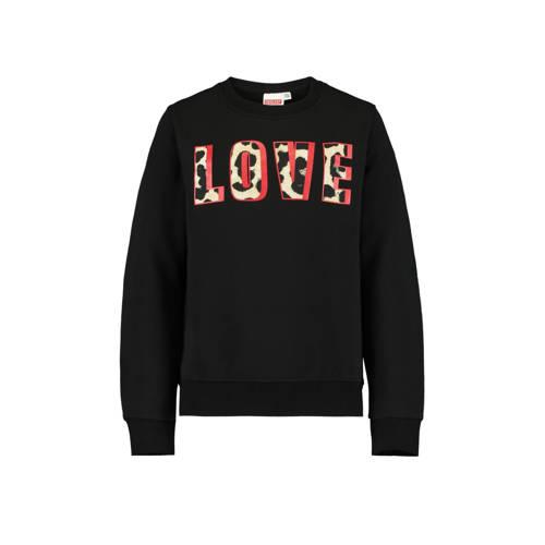 CoolCat Junior sweater Soof met tekst zwart/lichtg