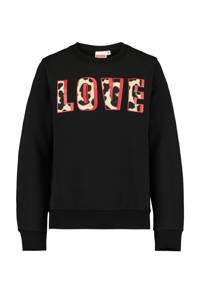 CoolCat Junior sweater Soof met tekst zwart/lichtgeel/rood, Zwart/lichtgeel/rood