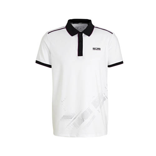 Sjeng Sports polo Felix wit/zwart