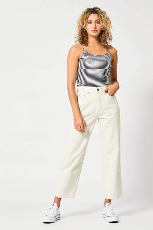 cropped high waist loose fit jeans ecru