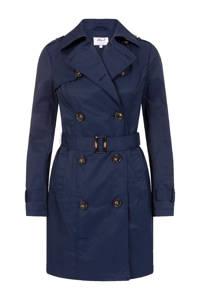 Miss Etam Regulier trenchcoat met ceintuur blauw, Blauw