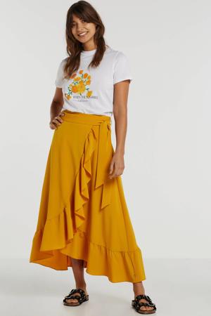 T-shirt met printopdruk wit/geel