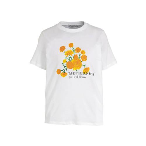 NA-KD T-shirt met printopdruk wit/geel