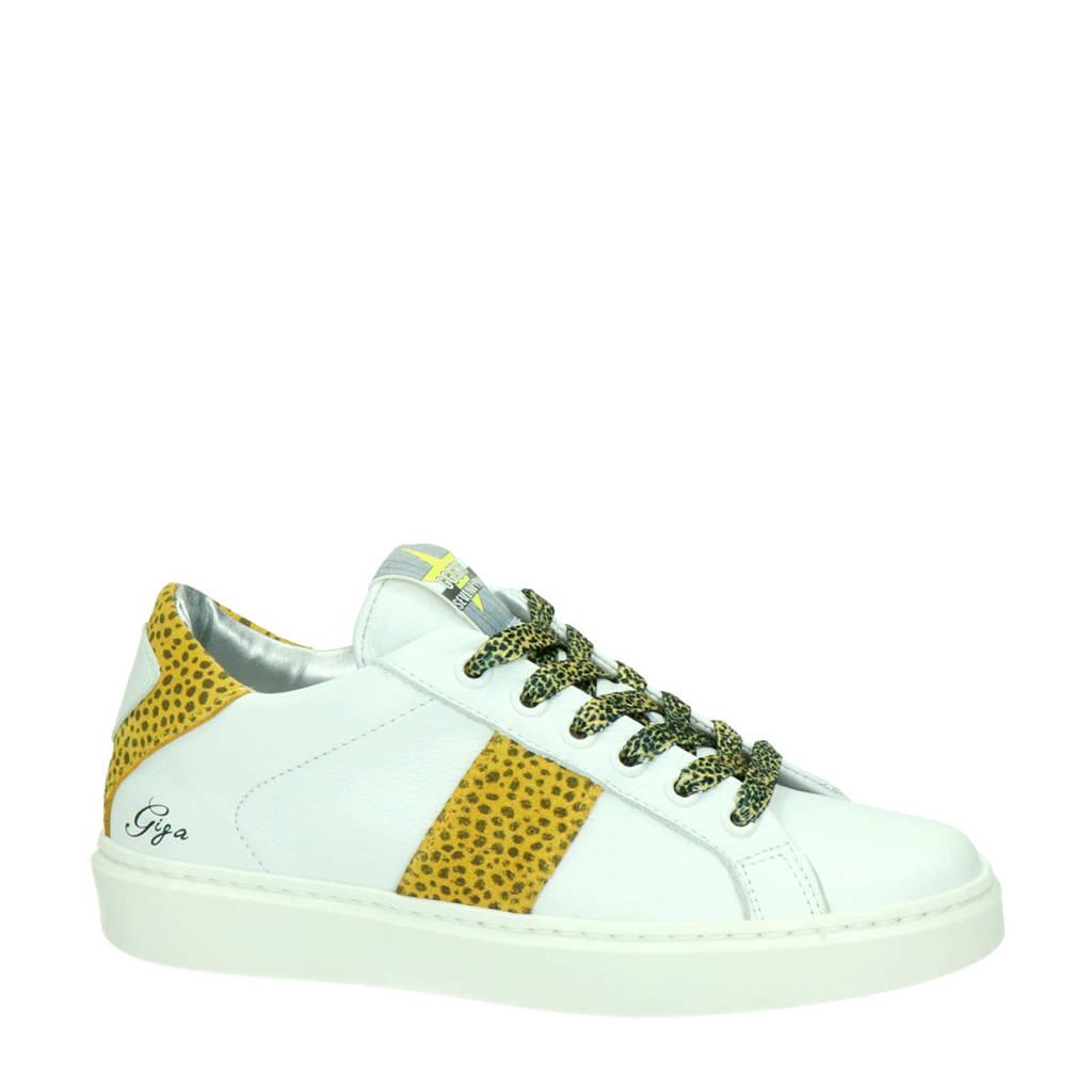 Giga   leren sneakers wit/geel, Wit/geel