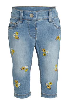 gebloemde skinny jeans light denim/geel/wit