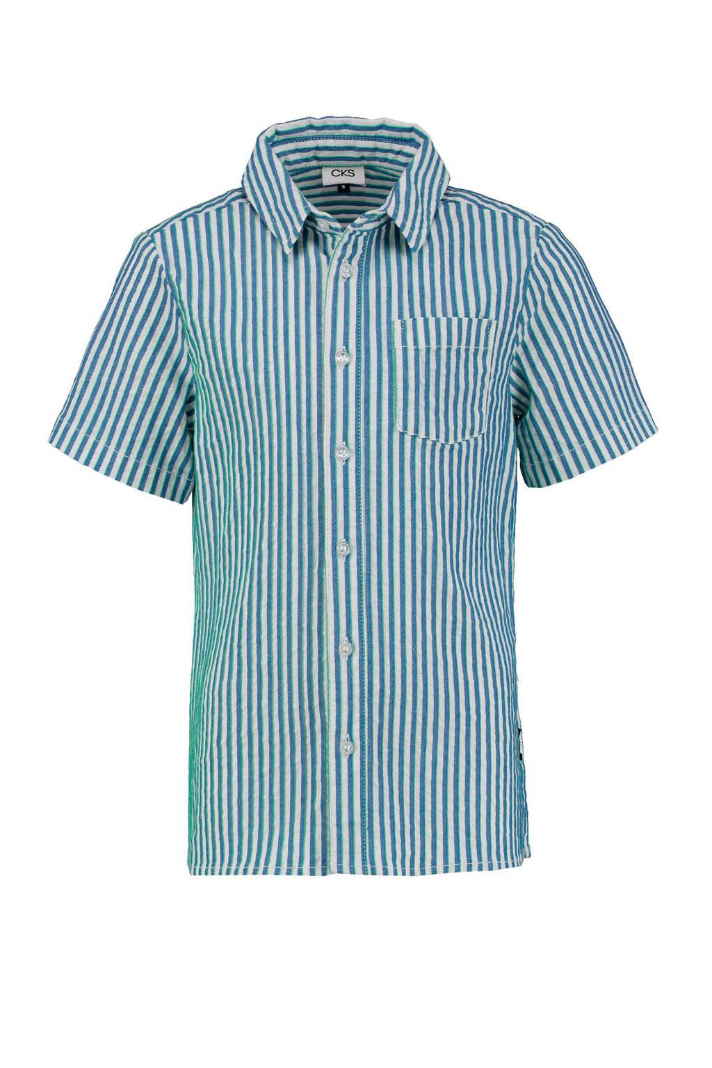 CKS KIDS gestreept overhemd Belias blauw/wit, Blauw/wit