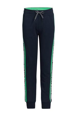 slim fit broek donkerblauw/groen/wit