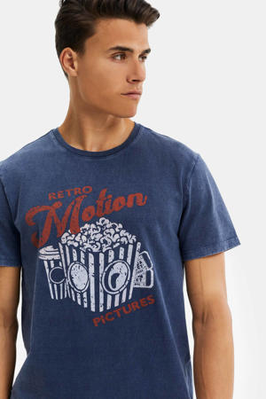 T-shirt met printopdruk donkerblauw/rood