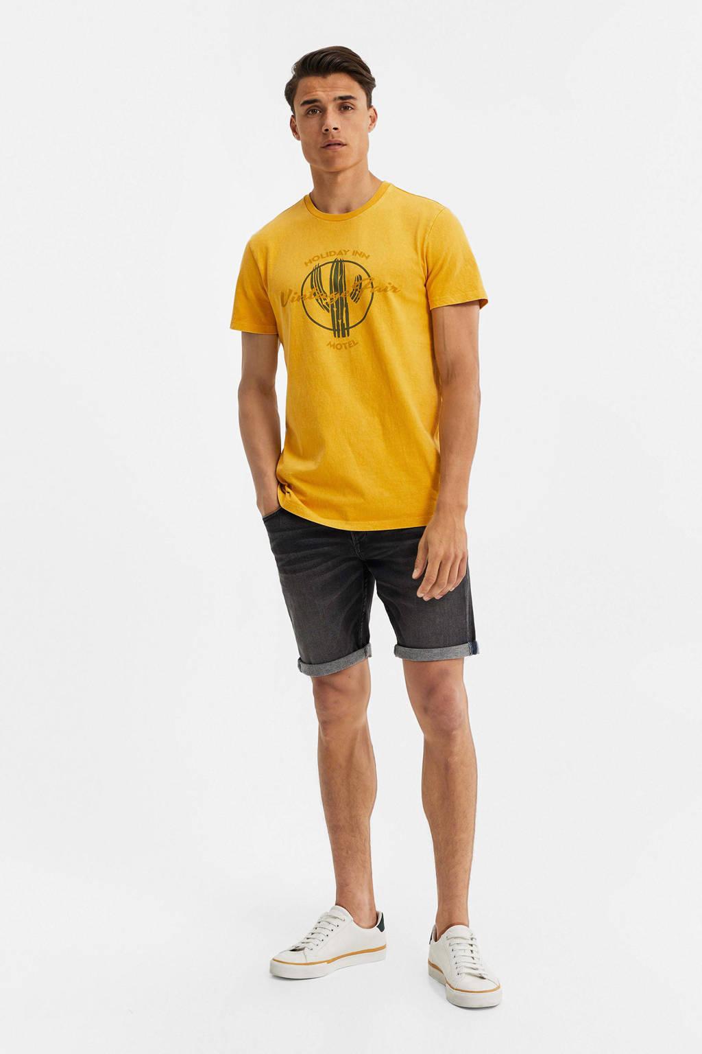 WE Fashion T-shirt met printopdruk geel, Geel