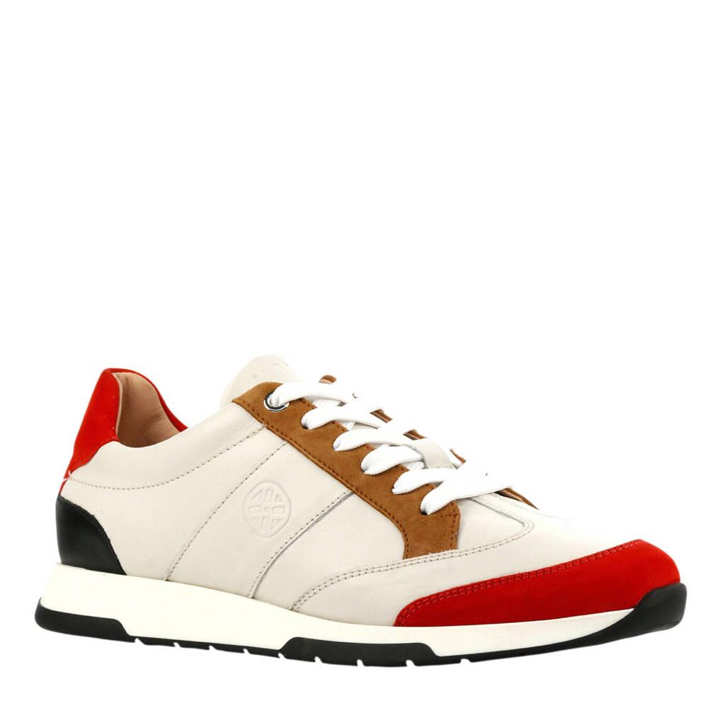 Unisa Falconi  leren sneakers wit/rood, Wit/rood/bruin