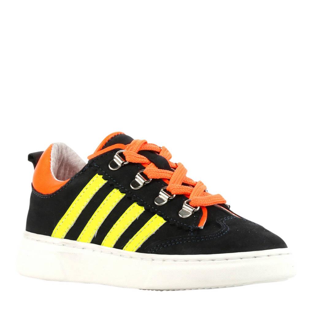 Pinocchio P1327  nubuck sneakers donkerblauw, Donkerblauw/oranje/geel