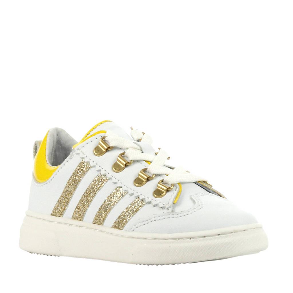 Pinocchio P1327  leren sneakers wit/geel, Wit/geel/goud
