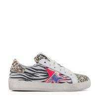 Hip H1213  leren sneakers panterprint/neon, Wit/beige/zwart