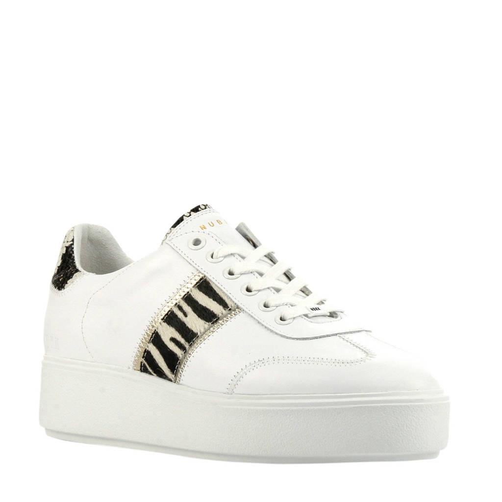 Nubikk Elisa Ziya  leren plateau sneakers wit/zebraprint, Wit/beige