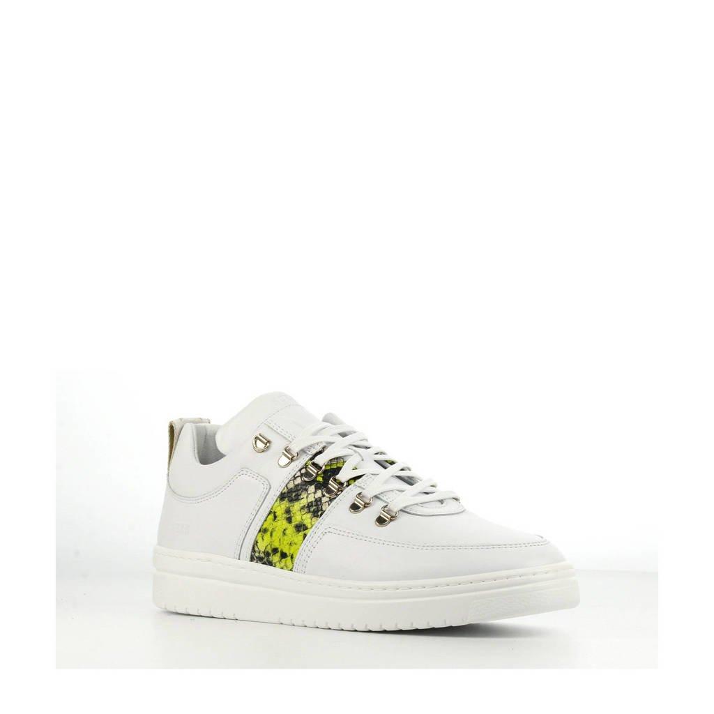 Nubikk Yeye Mace  leren sneakers wit/slangenprint, Wit/geel