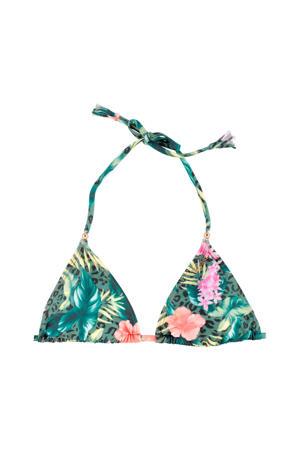 gebloemde triangel bikinitop Santhia groen/roze