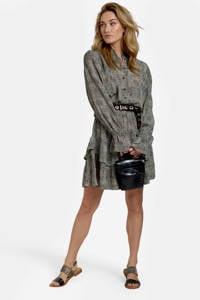 Eksept by Shoeby jurk Sandy met all over print en volant zand/zwart, Zand/zwart